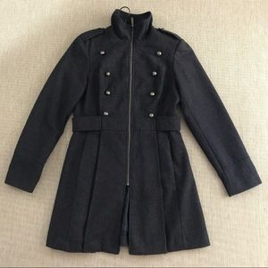 DECREE Military Style Coat Check L Wool Blend